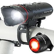 SUPERBRIGHT Bike Light USB Rechargeable LED - FREE Taillight INCLUDED- Cycle Torch Shark 500 Set - 500 Lumens - Fits ...