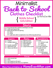 {Free Printables} Minimalist Back to School Clothes Checklist for Middle School Girls - Home Ever After