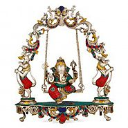 Enchanting Lord Ganesha on a Swing Statue in Brass & Turquoise- 18""