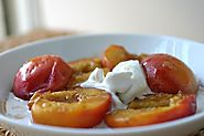 Roasted peaches with maple syrup and cardamom