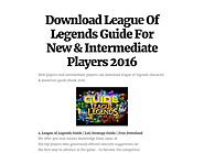 Download League Of Legends Guide For New & Intermediate Players 2016