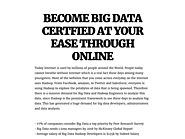 BECOME BIG DATA CERTFIED AT YOUR EASE THROUGH ONLINE