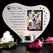 My Dog RIP - Inspirational poem, candle and photo holder glass memorial plaque