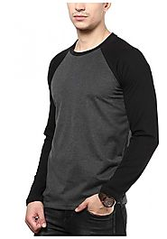 IZINC Men's Raglan Neck Full Sleeve Cotton T-Shirt