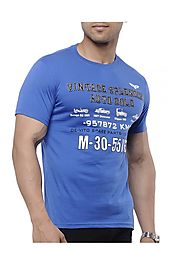 TOG Printed Mens Slim Fit Blue Cotton T-Shirt