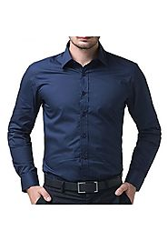 Being Fab Regular Fit Casual Cotton Navy blue Shirt