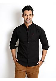 Rodid Men's Solid Casual Black Shirt