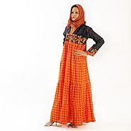 BLACK ORANGE RED YELLOW JILBAB