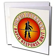 Russ Billington Designs - Rapid Response Unit Badge for Zombie Outbreaks - 12 Greeting Cards with envelopes (gc_22080...