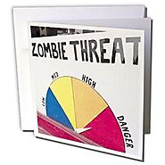 Zombie Threat sign, Store, Portland, Oregon, USA - Greeting Card, 6 x 6 inches, single (gc_146377_5)