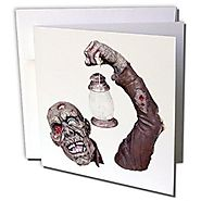 Blonde Designs Happy and Haunted Halloween - Halloween Gory Zombie - 1 Greeting Card with envelope (gc_131221_5)