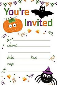 Halloween Themed Child Party Invitations - Fill In Style (20 Count) With Envelopes