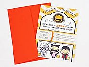 Halloween Party Invitations 'Calling All Little Spooks' with Orange Envelopes