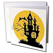 Blonde Designs Happy and Haunted Halloween - Halloween Haunted House - 1 Greeting Card with envelope (gc_131261_5)
