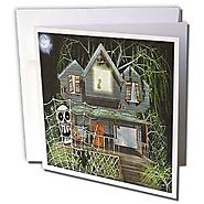 Sandy Mertens Halloween Designs - Halloween Haunted House Cartoon (Textured) - 1 Greeting Card with envelope (gc_3639...