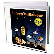 Lee Hiller Designs Holidays Halloween - Halloween Haunted House Ghosts Jack-o-Lanterns Bats - 1 Greeting Card with en...