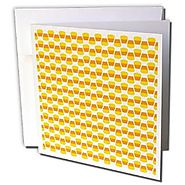 Anne Marie Baugh - Halloween - Orange, Yellow, and White Halloween Candy Corn Pattern On White - 6 Greeting Cards wit...