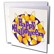 Anne Marie Baugh - Halloween - Cute Halloween Candy Corn With Happy Halloween Illustration - 12 Greeting Cards with e...