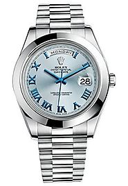 Replique Montre Rolex Day-Date II Cadran Bleu Platinum Case automatique 218206IBLRP