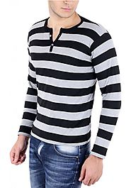 Big Idea Smart Grey-Black Striped Henely T-Shirt