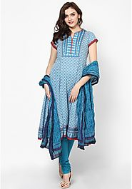 Blue Printed Cotton Churidar Kameez with Dupatta