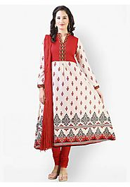 Cream Embroidered Churidar Kameez with Dupatta