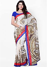 Diva Fashion Silk Blend Multi Printed Saree
