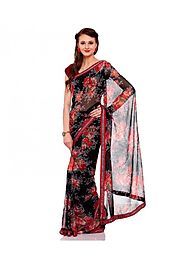 Ek Black Faux Georgette Printed Saree