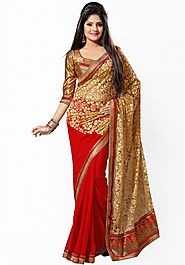 Saree Swarg Red Embellished Saree