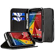 Moto G 2nd Gen Case, Moto G (2nd Generation) Case, NageBee - Wallet Flip Case Pouch Cover Fold Stand case Premium Lea...