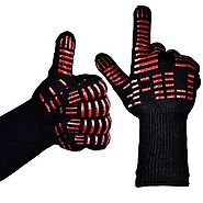 "TTLIFE BBQ Grilling Cooking Gloves - 932°F Extreme Heat Resistant Gloves - 1 Pair (Long) - 14"" Long For Extra Forearm..."