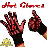 HOT GLOVES - Extreme Heat Resistant Cooking Gloves - Premium Quality - Oven Gloves - BBQ Gloves (2 Gloves - Black) + ...