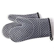 Silicone Kitchen Oven Mitts - Set of 2 with Washable Quilted Cotton Linings