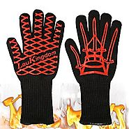 LauKingdom BBQ Grilling Cooking Gloves, Iron Throne 932 °F Extreme Heat Resistant Oven Mitts-14'' Long for Extra Fore...