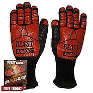 Grill Beast BBQ Grilling Cooking Gloves - Heat Resistant Kevlar & Silicone Insulated Protection - Smoker and Kitchen ...