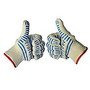 Proteove Oven Gloves-withstand Heat up to 662°F - Five Fingers Heatproof Oven Gloves Set - Use As Oven Mitt, Pot Hold...