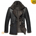 Mens Black Fur Lined Leather Coat CW819436