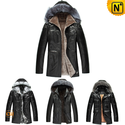 Men Hooded fur leather coat CW141416