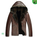 Hooded Mens Sheepskin Jacket CW878576
