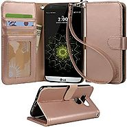 LG G5 Case, Arae [Wrist Strap] Flip Folio [Kickstand Feature] PU leather wallet case with ID&Credit Card Pockets For ...