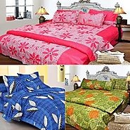 Set Of 3 Cotton Rich Bed Sheet With 6 Pillow Covers