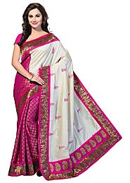 Ishin Bhagalpuri Silk Saree - Pink & Off-White
