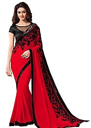 Shonaya Dani Georgette Saree - Red