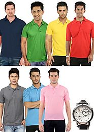 Fidato Men's Set of 7 Polo T-shirt Combo with Free Dual Time Watch