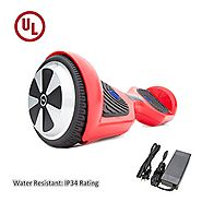 "SURFUS 6.5"" waterproof Hoverboard with Matte Shell UL 2272 Certified Self-Balancing Scooter with LED lights , Red"