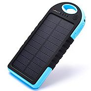 Solar Charger,Juboury 5000mAh Solar Power Bank Dual USB Port Portable Charger,3-proofing Design(Waterproof,Dust-Proof...