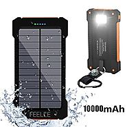 Solar Charger, Feelle 10000mAh Solar Power Bank Dual USB Solar Panel Portable Battery Charger with LED Flashlight for...