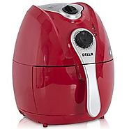 Della© Electric Air Fryer w/ Temperature Control, Detachable Basket Handle - Red, 1500W