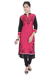 Red Long Calf Length Sleeves Printed Women Kurta