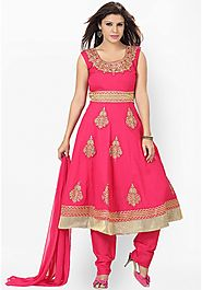 Pink Women Suits Embroidered Churidar Kameez with Dupatta